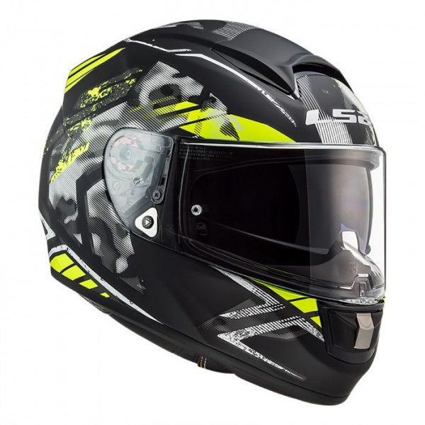 LS2 FF397 VECTOR EVO STENCIL MATT BLACK H-V YELLOW