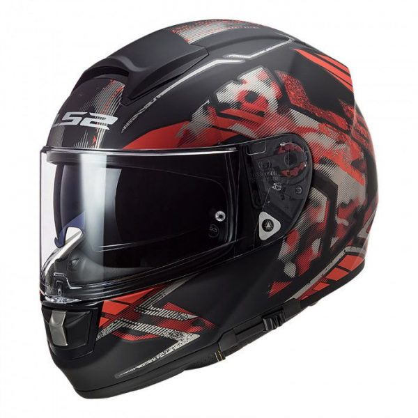LS2 FF397 VECTOR EVO STENCIL MATT BLACK RED